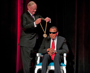 UofL president Dr. James Ramsey presented Muhammad Ali with the inaugural Grawemeyer Spirit Award in September 2015.