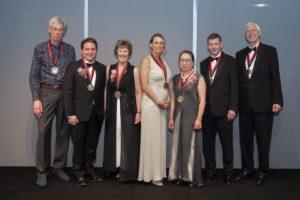 Winners of the 2019 Grawemeyer Awards were honored at an April 11 gala event. L-R: Joel Bons, Robert P. Jones, Susan Randolph, Terra Lawson-Remer, Sakiko Fukuda-Parr, Kent Berridge and Terry Robinson.
